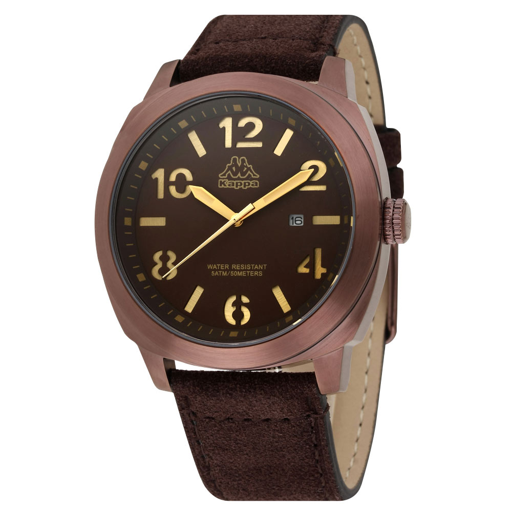 Kappa 復古玩色經典時尚腕錶-咖啡/47mm