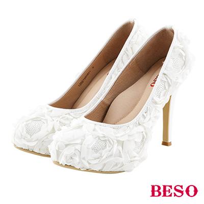 BESO 浪漫綺麗 立體玫瑰亮片婚鞋~白