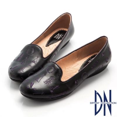 DN-甜美森林系-柔軟牛皮童趣刺繡樂福鞋-黑