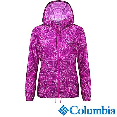 Columbia 哥倫比亞 女款-連帽風衣外套-紫色花紋 (UKR30130UN)