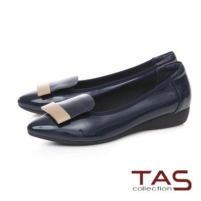 TAS 金屬一字造型尖頭娃娃鞋-內斂藍