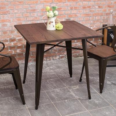 Boden-布魯克2.7尺工業風實木鐵腳餐桌/休閒桌/洽談桌-80x80x78cm