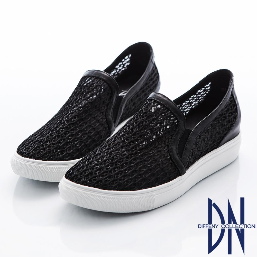 DN 都會時尚 真皮透膚內增高懶人休閒鞋-黑