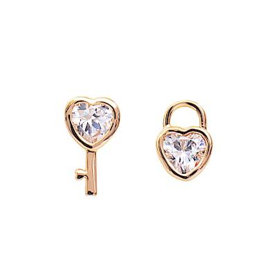 微醺禮物 耳環 鍍18K金 鑰匙 鎖 愛心鋯石 閃亮可愛 耳針 耳環
