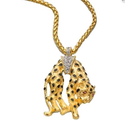 Kenneth Jay Lane 好萊塢巨星最愛 時尚黑點 美洲豹 金色長項鍊 鑲白鑽腰帶