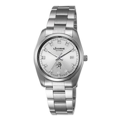 LICORNE 恩萃 Entree  簡約時尚設計都市水鑽腕錶-銀白/36mm