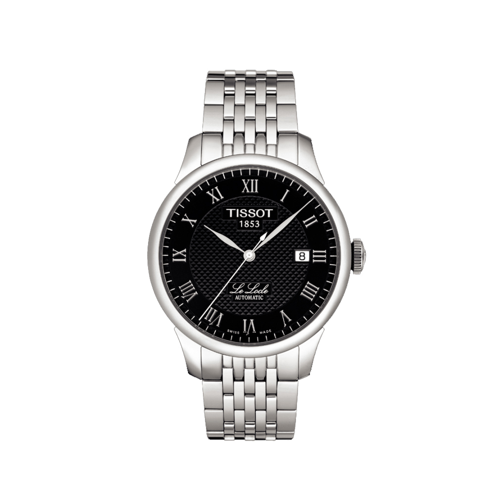 TISSOT Le Locle 力洛克系列 圖騰紋機械錶-黑/39mm