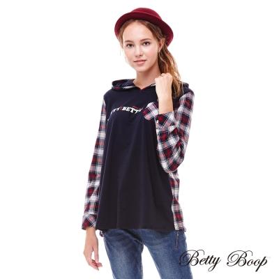 Betty Boop貝蒂 格紋拼接連帽口袋柔棉上衣(紅色)