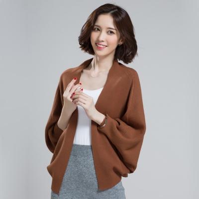 Seoul-Show-羊毛針織短版蝙蝠袖外套斗篷披