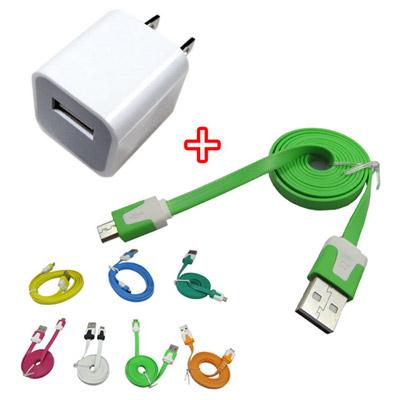 LN8A多彩扁條Micro USB手機充電傳輸套件組(買1加1)(顏色隨機出貨)