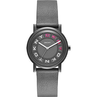 DKNY 紐約派對都會腕錶-灰黑x桃紅/34mm