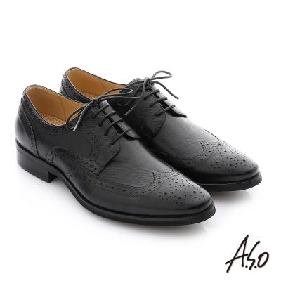 A.S.O 3D超動能 牛皮綁帶真皮奈米紳士鞋 黑色