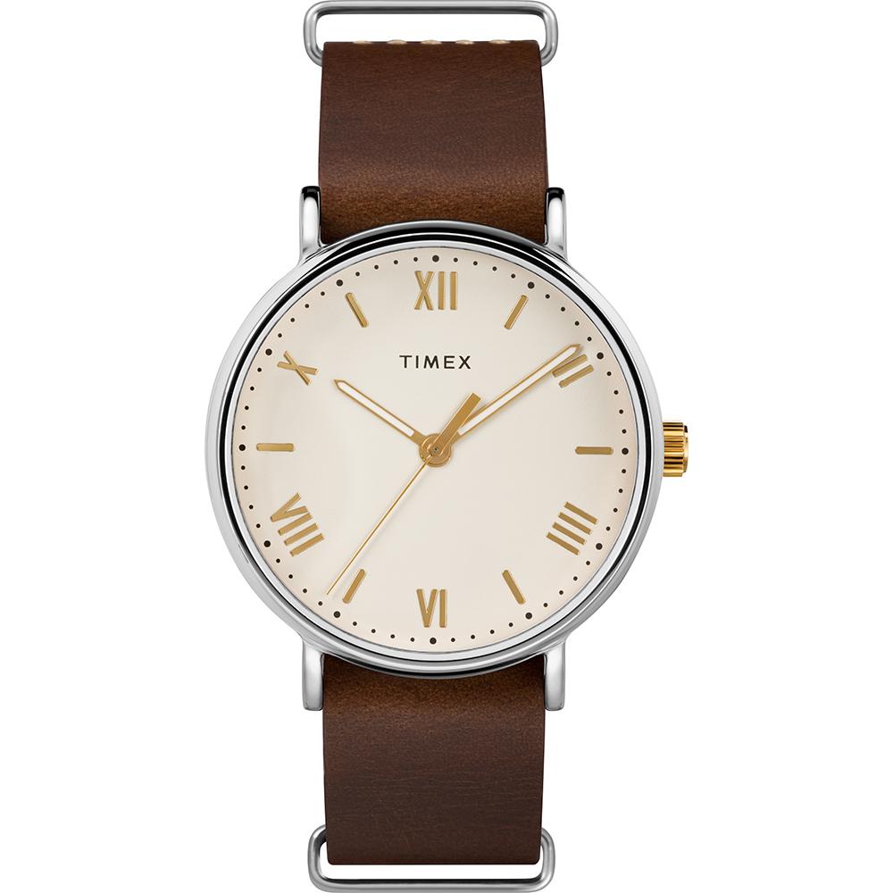 TIMEX 天美時 風格系列 羅馬字手錶 米白x深咖啡色/41mm