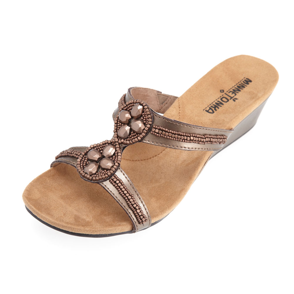 MINNETONKA-SOHO SLIDE金屬風楔型涼拖鞋-棕色