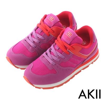 AKII韓國空運‧時尚撞色運動氣墊增高鞋-紫紅