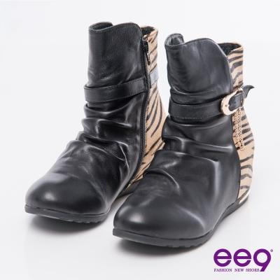 ee9野性風潮~質感豹紋馬毛拼接金屬扣環繫帶內增高短靴*黑色
