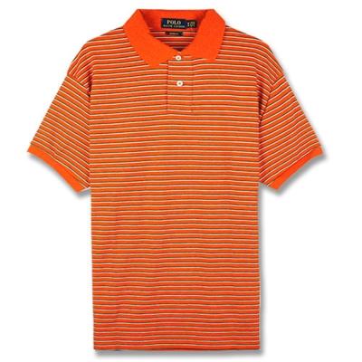 Ralph Lauren 棉質純條紋POLO衫(橘)
