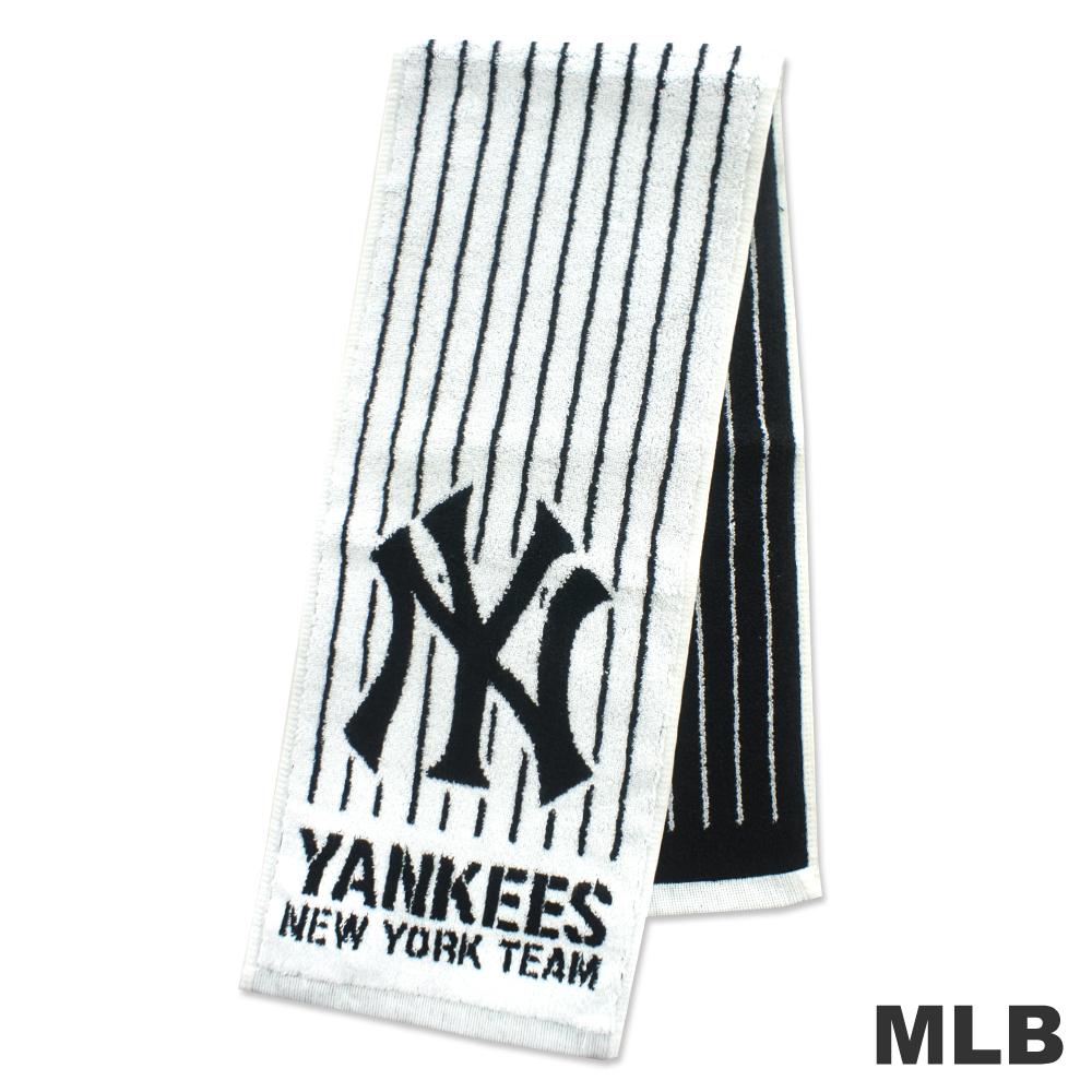 MLB-紐約洋基隊直式條紋款運動長巾-白色