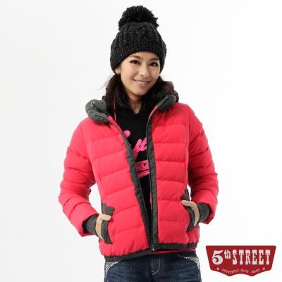 5th-STREET-外套-跳色拼接羽絨外套-女-紅色