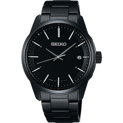 SEIKO SPIRIT 萬年曆太陽能電波腕錶(SBTM235J)-鍍黑/40mm