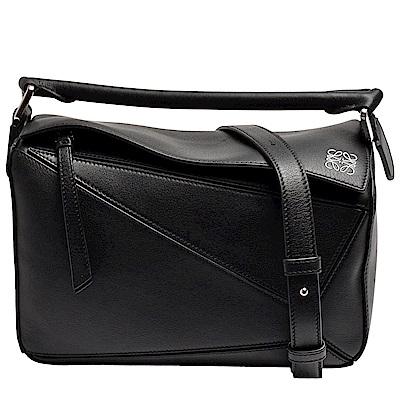 LOEWE 經典PUZZLE BAG系列小牛皮幾何拼接設計手提/肩背包(小-黑)