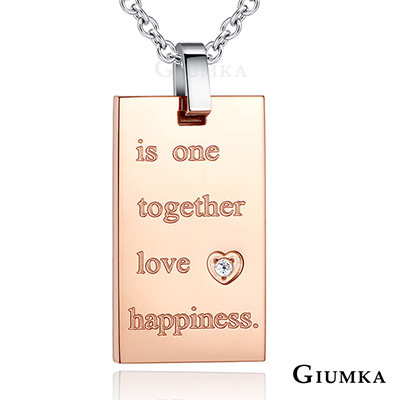 GIUMKA白鋼 情侶項鍊 知足相伴男鏈/女鏈-黑玫單鏈