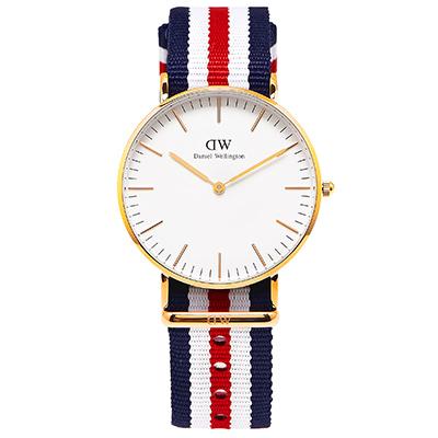 DW Daniel Wellington 經典Canterbury女腕錶-白/金框/36mm