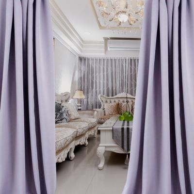 布安於室-簡約素色紫穿管式單層遮光窗簾-落地窗(寬270X高210cm)