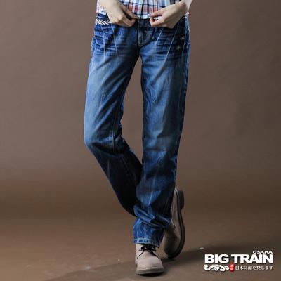 【BIG TRAIN】女款 街頭銀翼女垮褲(中藍)