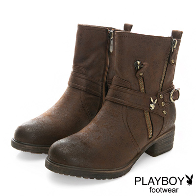 PLAYBOY-率性首選-仿皮超輕量工程靴-棕-女
