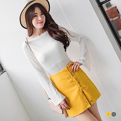 素色側襬交叉綁帶造型開衩設計短裙.2色-OB嚴選