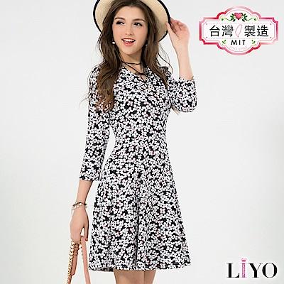 洋裝MIT優雅小碎花名媛V領荷式修身傘狀顯瘦洋裝 S-XL LIYO理優