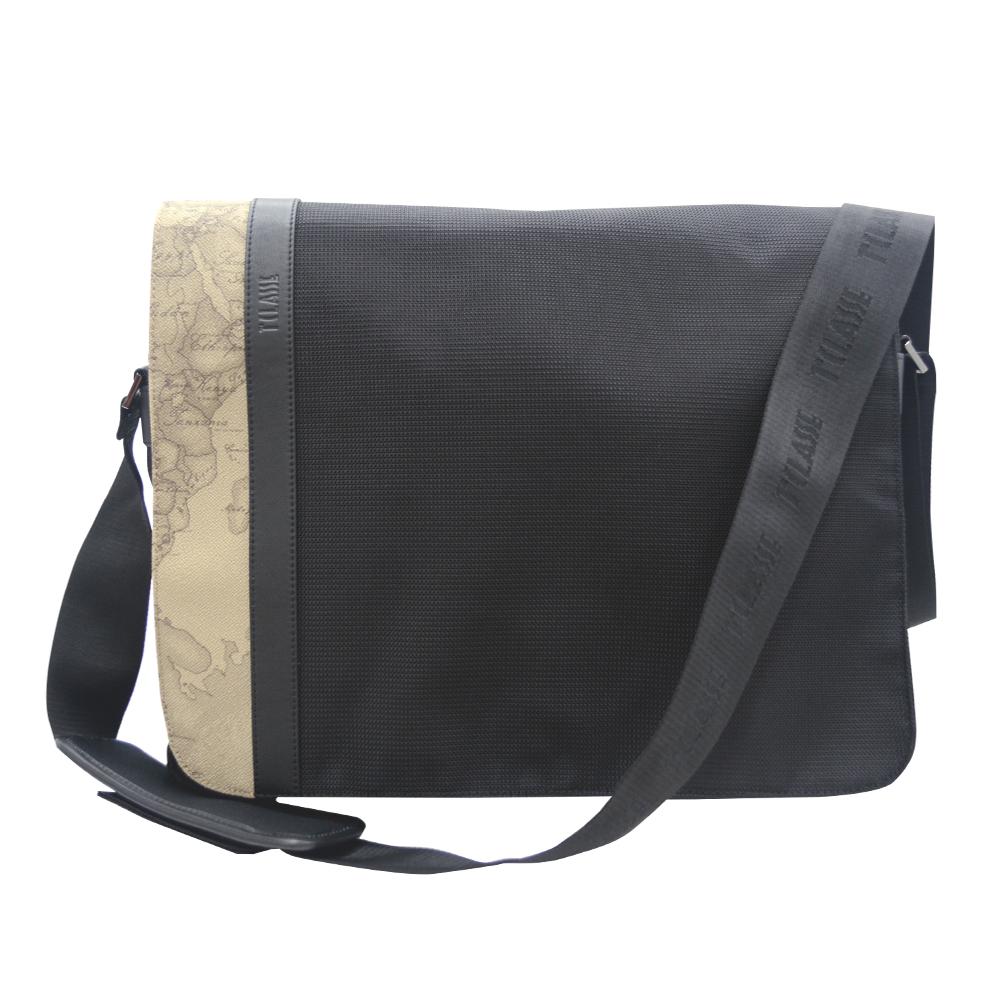 Alviero Martini 義大利地圖包 旅行王者 側掀側背包公事包-黑