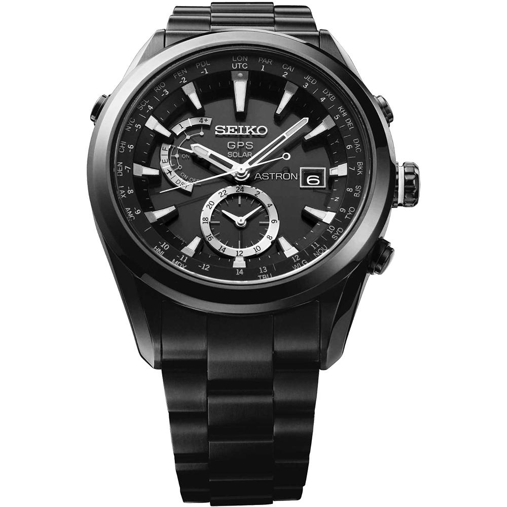 SEIKO ASTRON GPS 太陽能【鈦】電波腕錶-IP黑/47mm