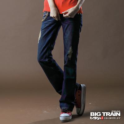 【BIG TRAIN】女款 燙鑽打釘割破靴型褲(中深藍)