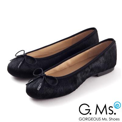 G.Ms. MIT系列-全真皮蝴蝶結馬毛芭蕾舞鞋-馬毛黑