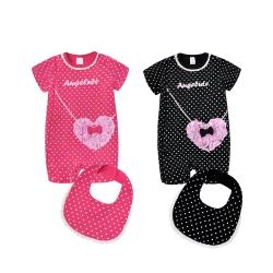 baby童衣 連身衣 點點款側開連體衣配圍兜套裝 61025