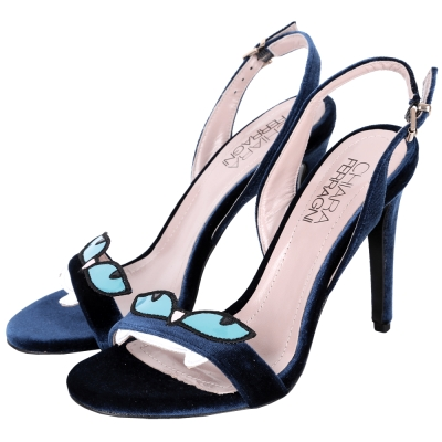 Chiara Ferragni Amelia 藍眼怪獸絲絨高跟涼鞋(深藍色)