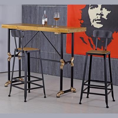 AT HOME-蓋爾4.6尺水管長方吧台桌椅組(一桌二椅)
