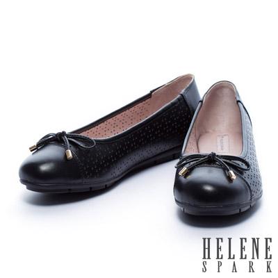 娃娃鞋-HELENE-SPARK-異材質拼接蝴蝶結全真皮平底娃娃鞋-黑