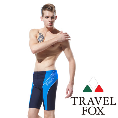 TRAVELFOX 旅狐 男泳褲七分泳褲 丈青亮藍拼接
