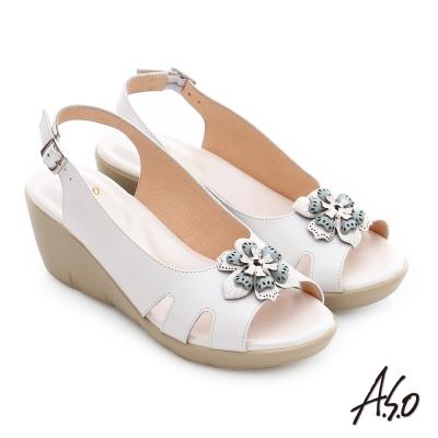A.S.O 挺麗氣墊 真皮立體雕花楔型涼鞋 白色