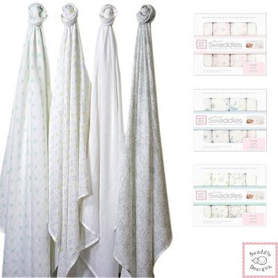 Swaddle Designs 薄棉羅紗多用途嬰兒包巾4入禮盒