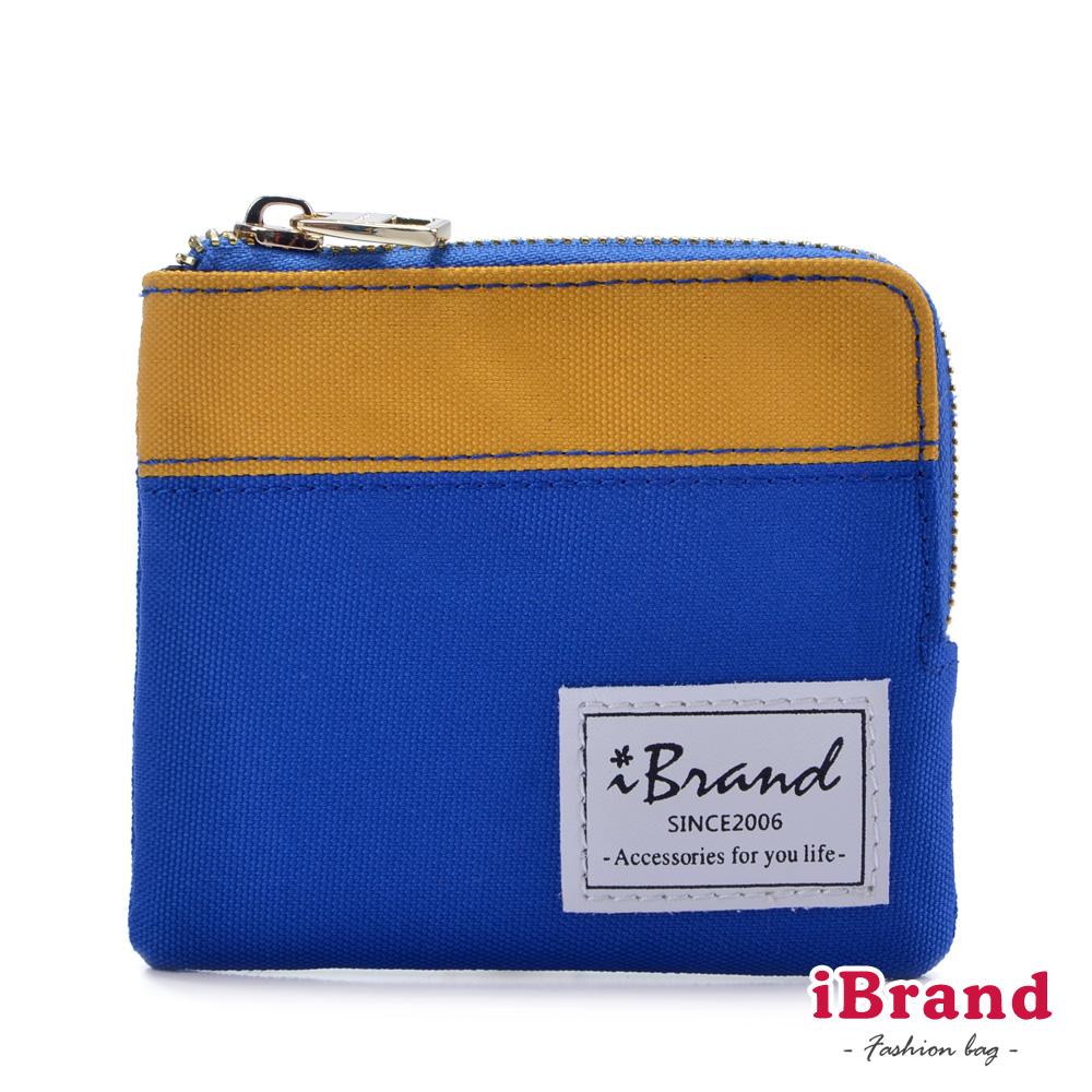 iBrand-時尚生活小配件撞色L型拉鍊零錢包-黃x藍