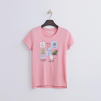 Hang Ten - 女裝 - 有機棉 多肉植栽T恤-粉紅色