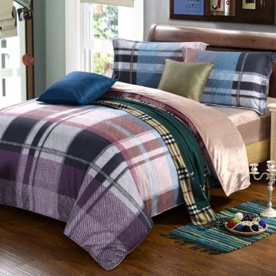 HOYACASA丹寧格調 加大四件式芯舒絨兩用被床包組