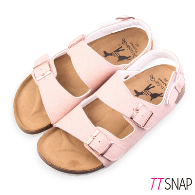 TTSNAP涼拖鞋-MIT真皮繫踝二條休閒涼拖鞋 粉