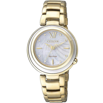 CITIZEN L 光動能 優美星空時尚腕錶(EM0336-59D)-金x珍珠貝/30mm