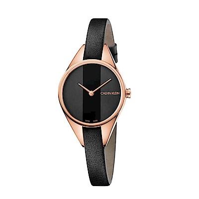 CALVIN KLEIN叛逆系列鍍PVD玫瑰金黑面女錶-29mm