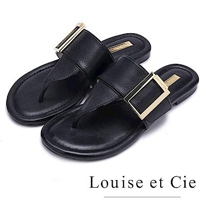 Louise et Cie 小牛皮寬版夾腳平底拖鞋-黑色